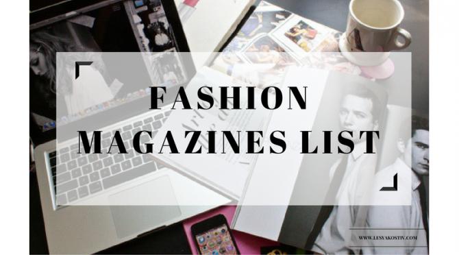 Fashion Magazines list